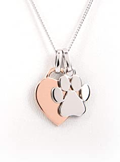 Heart Paw Print Necklace - Rose Gold Plated Silver - Dog Lover Gift, Dog Paw Jewelry