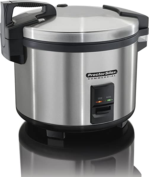 Proctor Silex Commercial 37560R Rice Cooker Warmer 60 Cups Cooked Rice Non Stick Pot Hinged Lid Stainless Steel Housing