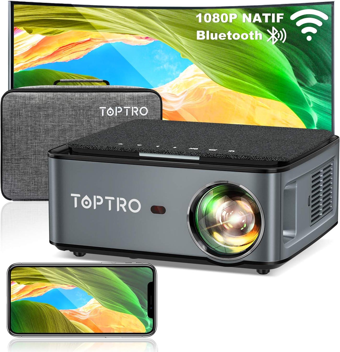 7500 Lumens TOPTRO Projecteur Portable Supporte 4K Retroprojecteur Compatible iPhone Android T/él/éphone,PPT Pr/ésentation Videoprojecteur WiFi Bluetooth Full HD 1080P