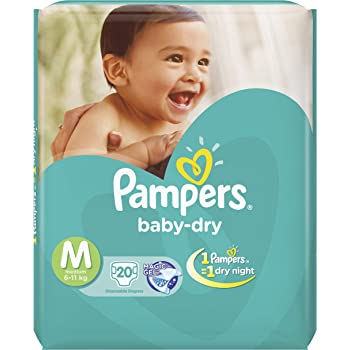 Pampers Baby Dry Diapers - 20 Pieces (Medium)
