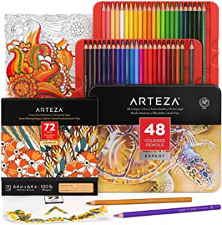 Arteza Coloring Art Set, Colored Pencils 48 and Coloring Book with 72 Unique Designs, Art Supplies for Relaxation and Stre...