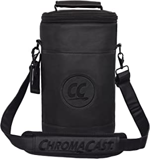ChromaCast Soft PU Leather Wine Travel Carrier & Cooler Bag - Chills 2 bottles of wine or champagne