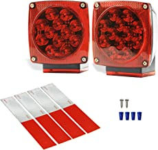 Wellmax 12V LED Submersible Trailer Lights, Left and Right Trailer Lights for Stop, Turn, and Signal Lights, for Under 80 Inch Boat Trailers, Truck, and RV