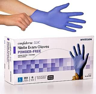 McKesson Confiderm 3.5C Nitrile Latex-Free LG Exam Gloves, Large, Chemo Tested, Powder-Free, 200/BX (CASE of 10)