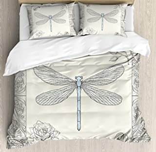 Dragonfly 3 Pieces Duvet Cover Set, Hand Drawn Royal Ancient Style Rose Petals Leaves and Ornate Figures Design, Decorative Bedding Sets, Comforter Cover with 2 Pillow Shams, Black Light Blue,Full