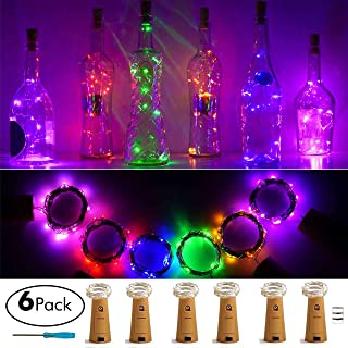 LoveNite Wine Bottle Lights with Cork, Battery Operated 15 LED Cork Shape Silver Wire Colorful Fairy Mini String Lights for DIY, Party, Decor, Christmas, Halloween,Wedding (6 Single Color)