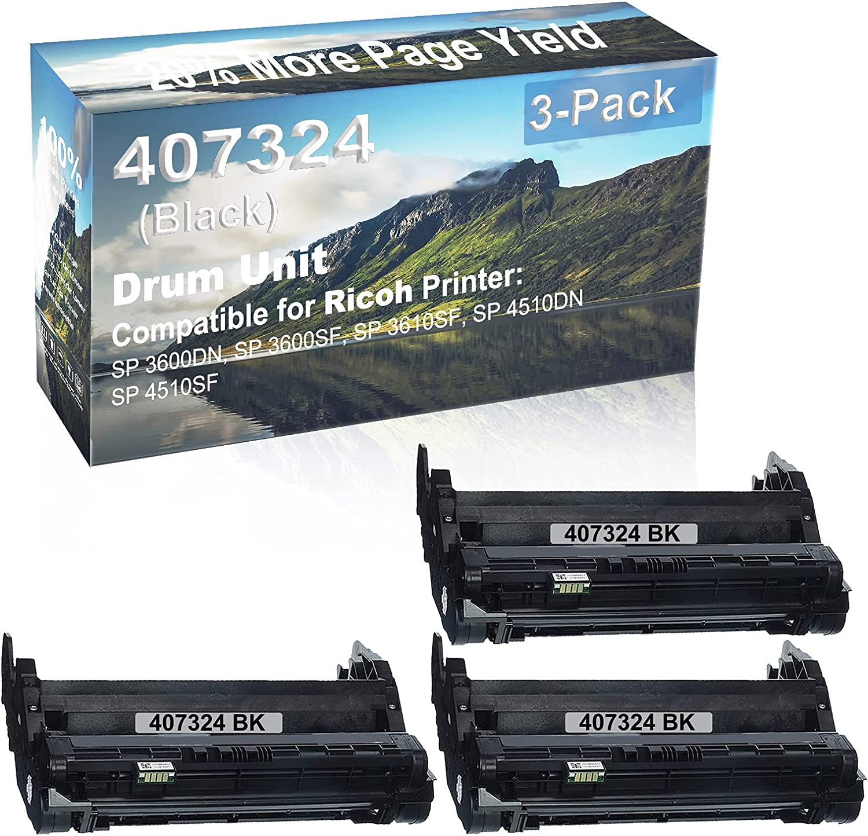 3-Pack (Black) Compatible SP 3600DN, SP 3600SF, SP 3610SF, SP 4510DN, SP 4510SF Printer Drum Unit Replacement for Ricoh 407324 Drum Kit