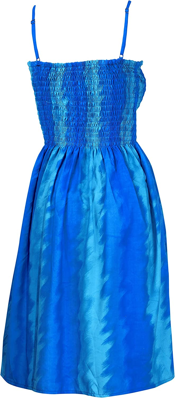 LA LEELA Womens Short Tube Dress Printed Relax Casual 1286