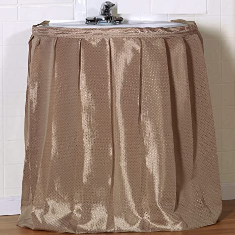 Sweet Home Collection Sink Drape Standard Linen Long Lasting Includes Rugged Adhesive with Easy Installation for Most Sinks /& Decors 54 x 36 Diamond Embossed Pattern Strong Polyester