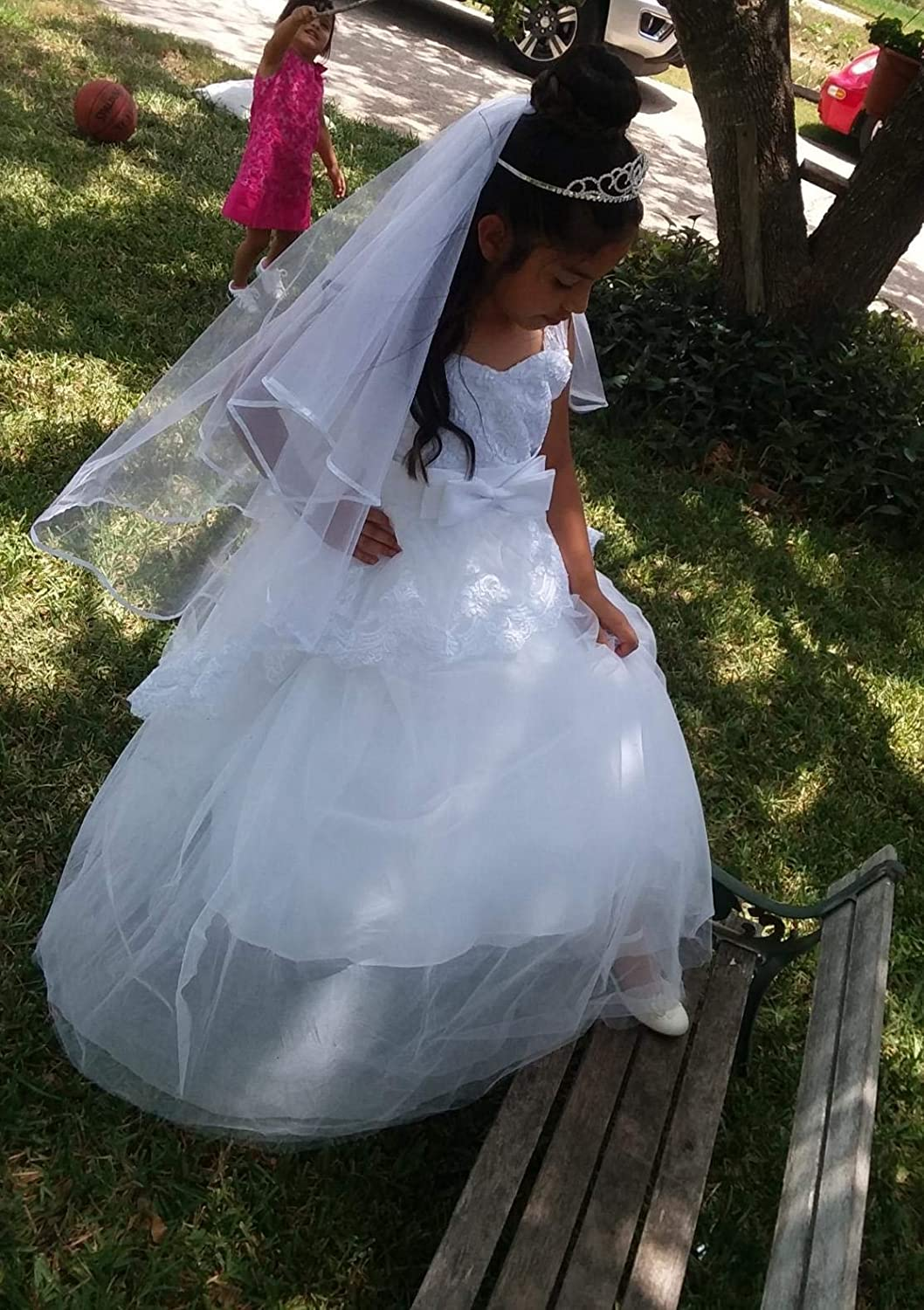 Elegant Lace Appliques Cap Sleeves Tulle Flower Girl Dress 1-14 Years Old