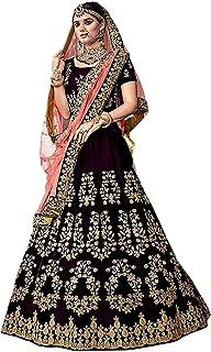 d581492274 Women's Embroidered Silk Semi-stitched Circular Lehenga Choli (Freesize)