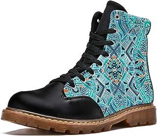 LORVIES Mandala Boho Vintage Bottes d'hiver Chaussures Montantes en Toile à Lacets pour Hommes