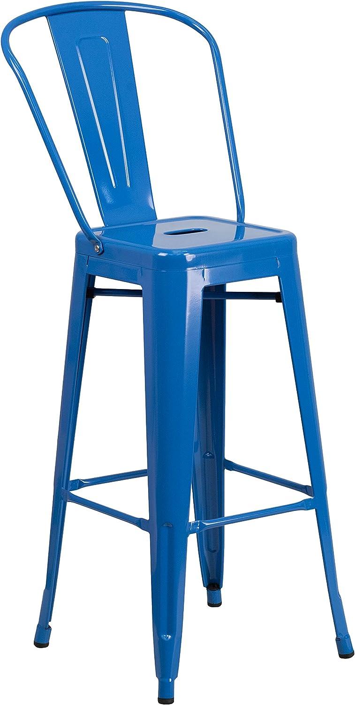 Flash Furniture 30'' High bluee Metal Indoor-Outdoor Barstool with Back