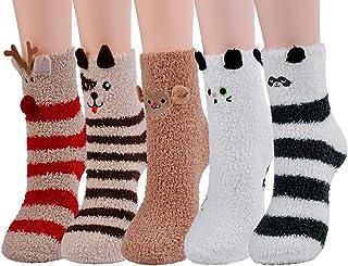 Calcetines Esponjosos, Calcetines Elásticos Suaves de Patrón Lindo de Navidad Calcetines de Felpa Cálidos Calcetines Nvierno Navidad Algodón Calcetines(Mujer/Niña)