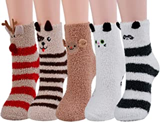 Christmas Socks,Aniwon 5-Pair Xmas Fuzzy Cozy Slipper Socks Winter Warm Thick Home Socks For Women Girls
