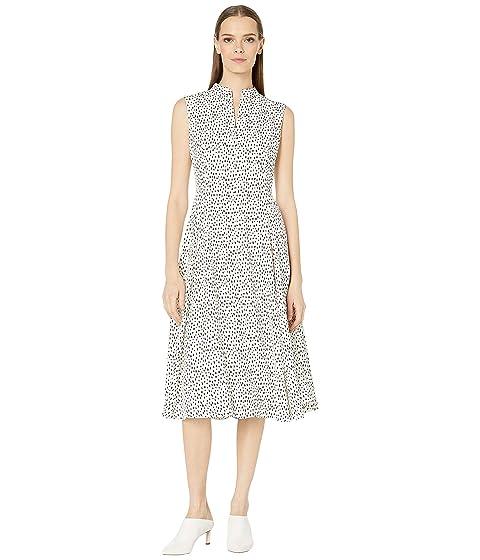 Adam Lippes Printed Crepe Sleeveless Dress w/ Full Skirt