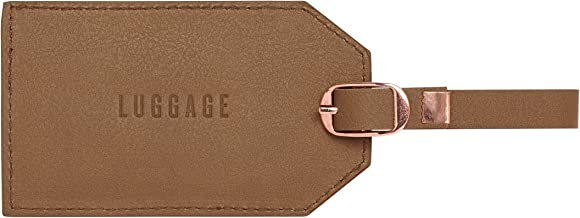 C.R. Gibson Luggage Tag, Brown Leatherette