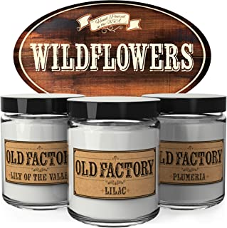 Old Factory Scented Candles - Wildflowers - Set of 3: Lily of the Valley, Lilac, and Plumeria - 3 x 4-Ounce Soy Candles - Perfect Valentines Day Gift for Her