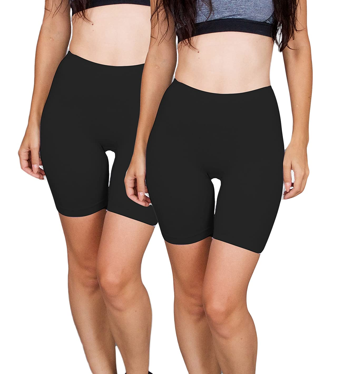 Emprella Bike Shorts Women, 2-Pack Spandex Biker Short for Yoga Gym Biking or Slip Shorts