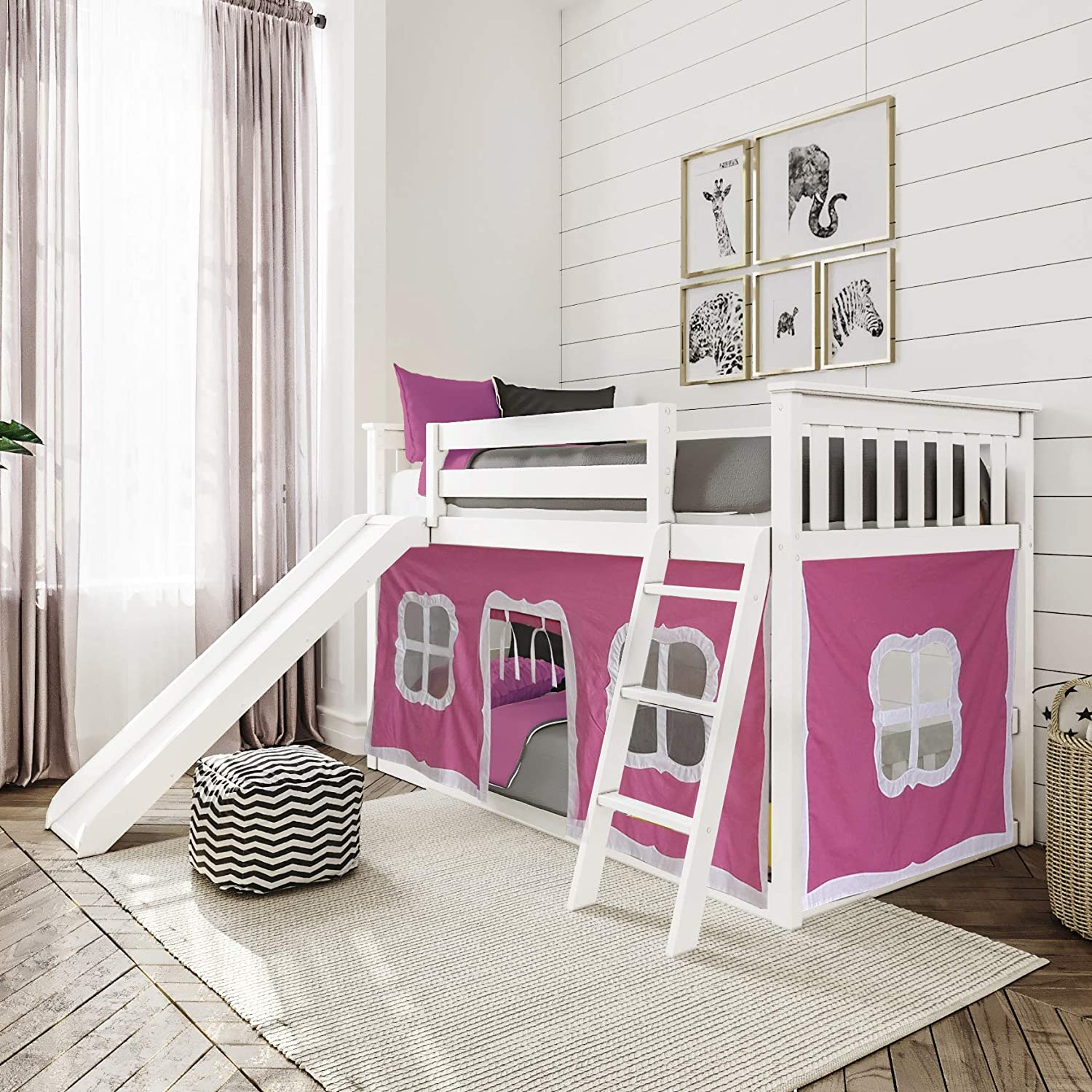 Max 59% OFF Max Lily Low Bunk Bed with Whit and Some reservation Slide Pink Twin Curtains