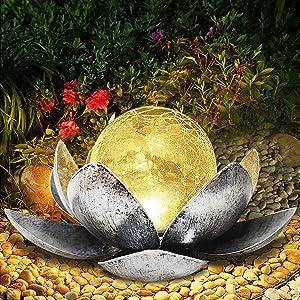 Solar Lights Outdoor Garden - Lotus Flower Decor Garden Solar Light Waterproof Solar Lights Outdoor Decorative for Table,Patio, Path,Yard ,Lawn,Walkway