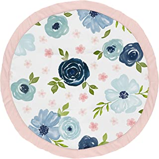 Sweet Jojo Designs Navy Blue and Pink Watercolor Floral Girl Baby Playmat Tummy Time Infant Play Mat - Blush, Green and Wh...