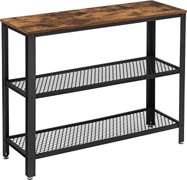 VASAGLE Industrial Console Table, Hallway Table with 2 Mesh Shelves, Side Table and Sideboard, Living Room, Corridor, 40 x 13