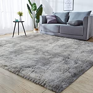 GKLUCKIN Shag Ultra Soft Area Rug, Non-Skid Fluffy 5'X7' Tie-Dyed Light Grey Fuzzy Indoor Faux Fur Rugs for Living Room Bedroom Nursery Decor Furry Carpet Kids Playroom
