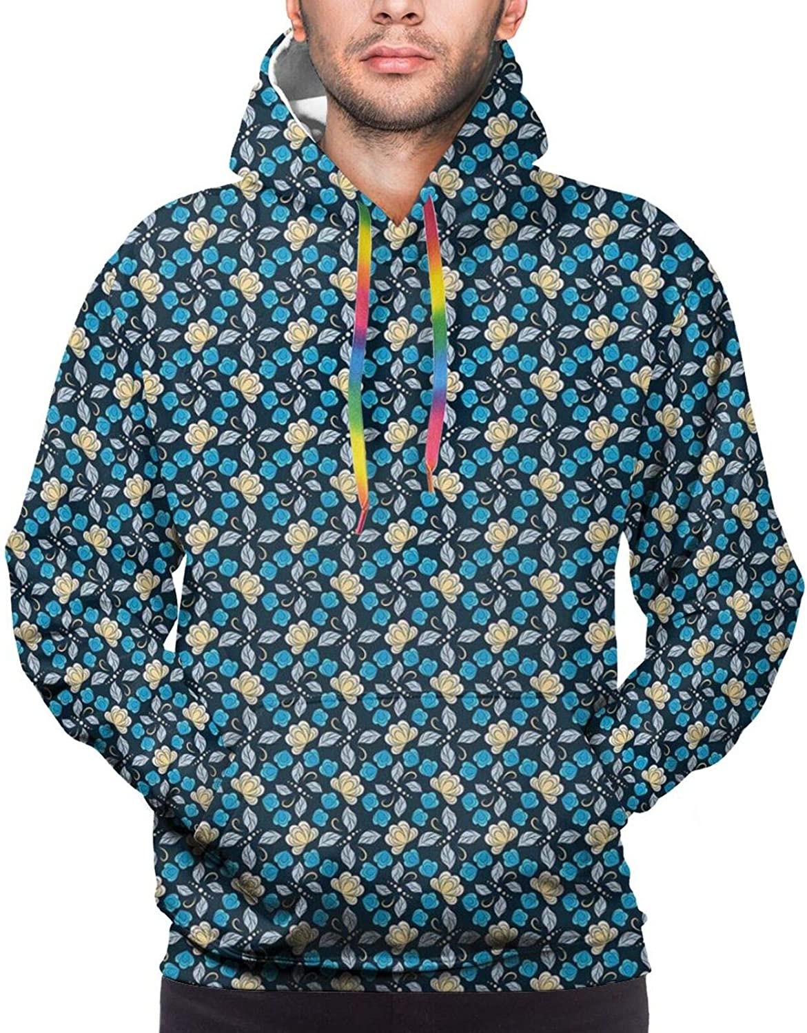 Men's Hoodies Sweatshirts,Abstract Striped Flowers Leaves and Dots