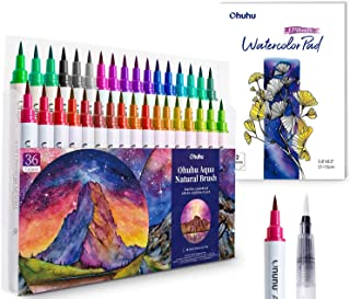 Professional Watercolor Brush Markers Pens Set, Ohuhu 36 Colors Water-based Paint Marker with 12-Sheet Watercolor Pad & A ...