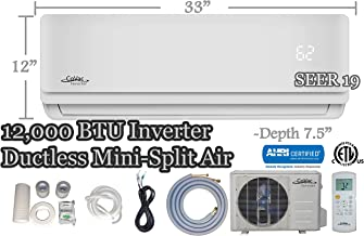 CoVac 12,000 BTU Ductless Mini-Split Air Conditioner – Inverter SEER 19 – Cooling & Heating – Dehumidifier – 120v/60hz - PreCharged Condenser - Ultra Quiet - AHRI - 16 Feet Line Set + Accessories