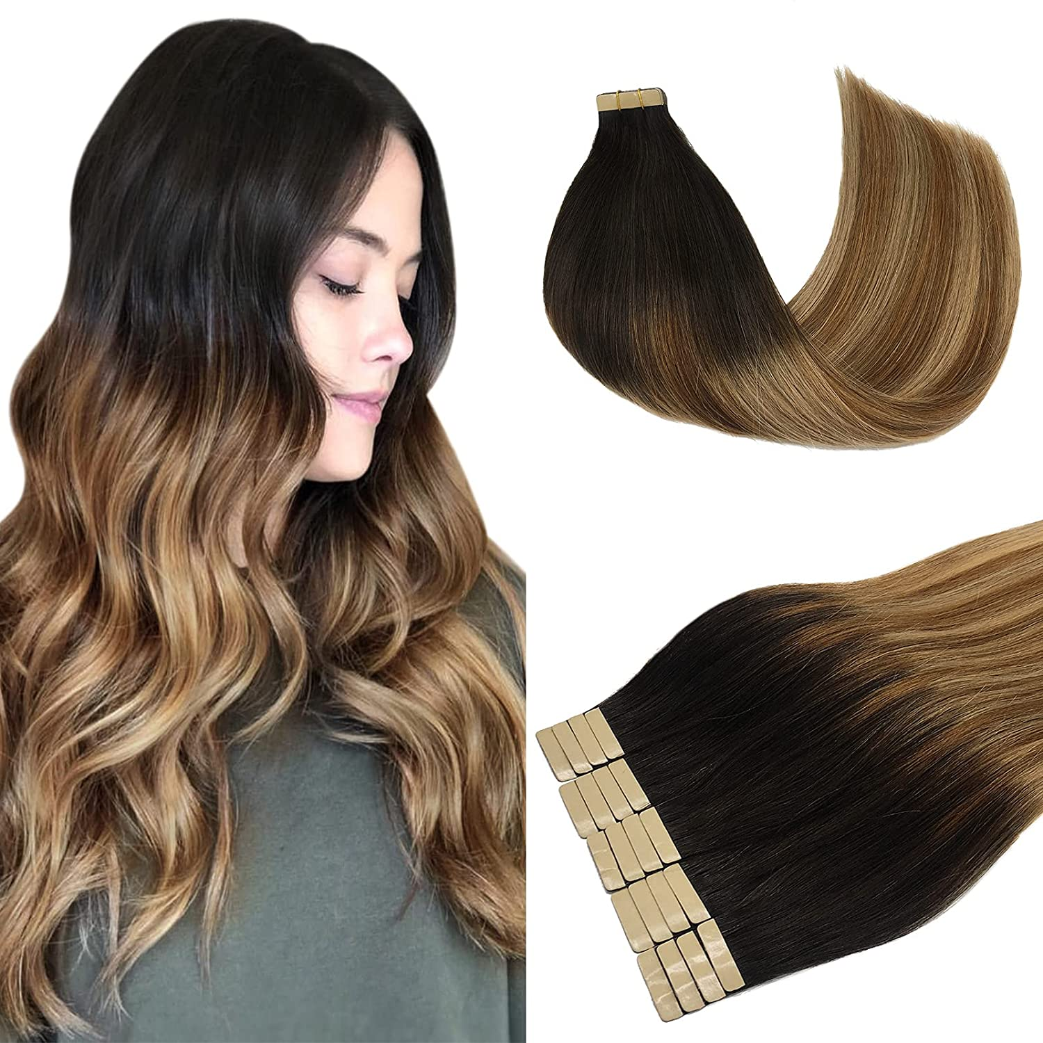 LAB·EH Hair Extensions Tape in Ombre Dark to Brown Chestnut Brow Many Popular products popular brands