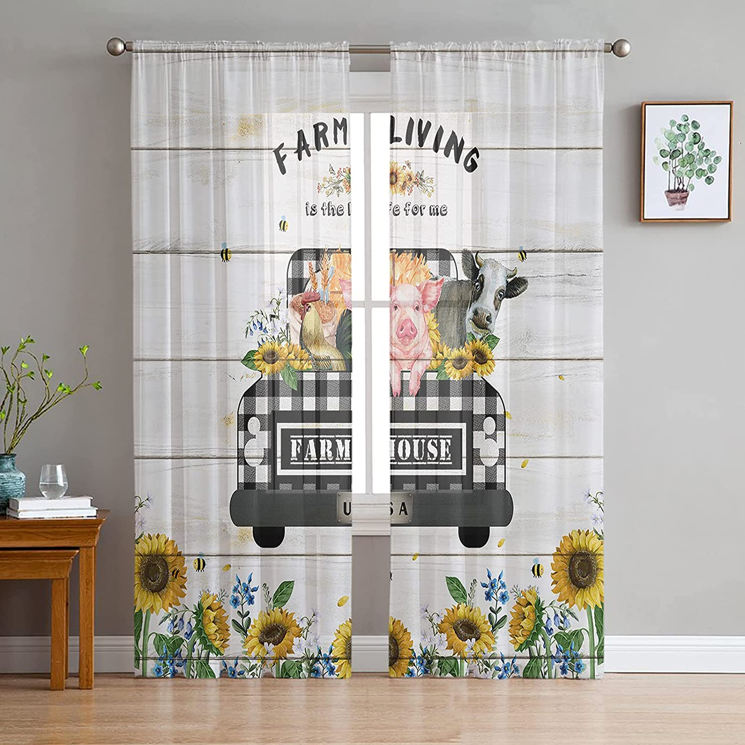 trend rank Sheer Curtains 96 inches Long Window Treatm Drapes Award-winning store Voile Grommet