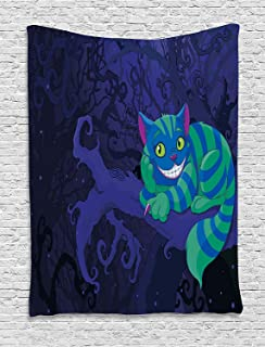 Ambesonne Alice in Wonderland Decorations Collection, Chester Cat Sitting on Branch in Fairy Forest Character Alice, Bedroom Living Room Dorm Wall Hanging Tapestry, Green Blue Purple