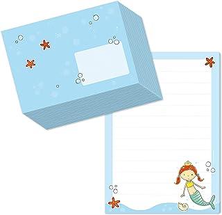 Juego de bloc de notas DIN A5 (50 hojas a rayas) incluye 20 sobres a juego/papel de carta para niñas diseño de sirena