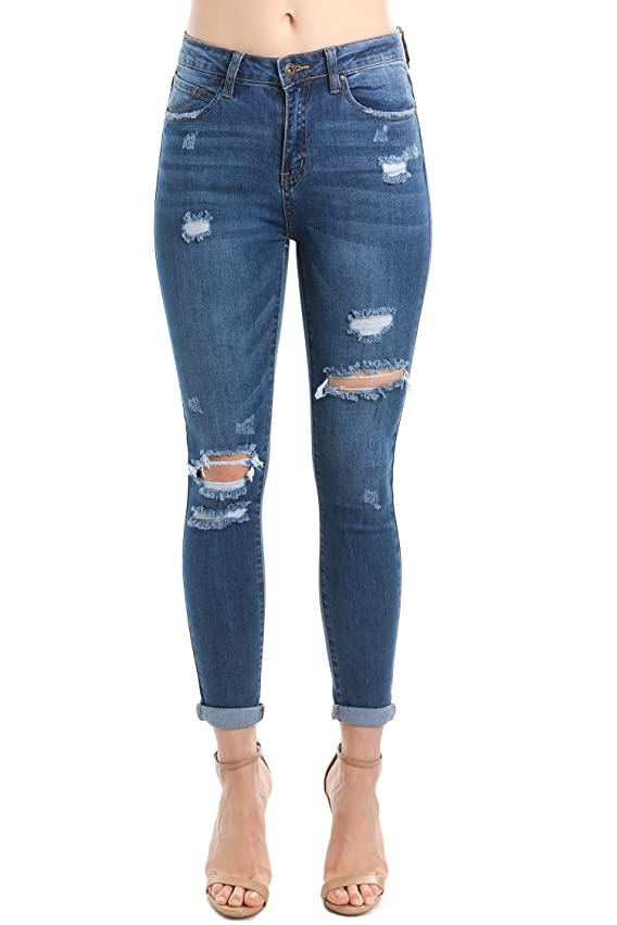 wax jean Women's Distressed Slim Fit Skinny Jeans Size 0 to 13