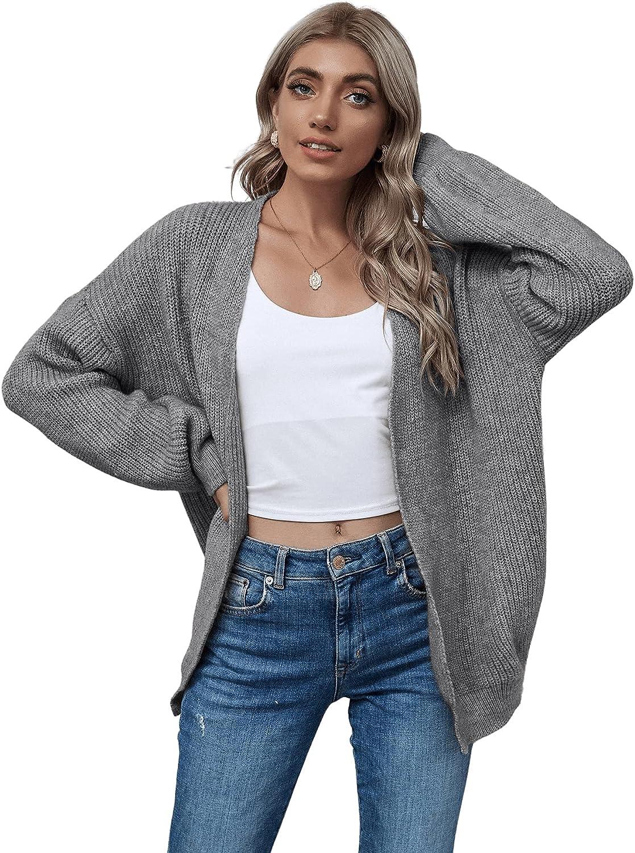 SweatyRocks Women's Casual Long Sleeve Kimono Open Front Knit Cardigan Sweater