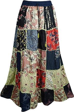 66d180b35 Mogul Interior Women's Gujarati Patchwork Skirt Printed Rayon A-Line Boho  Summer Skirts S/