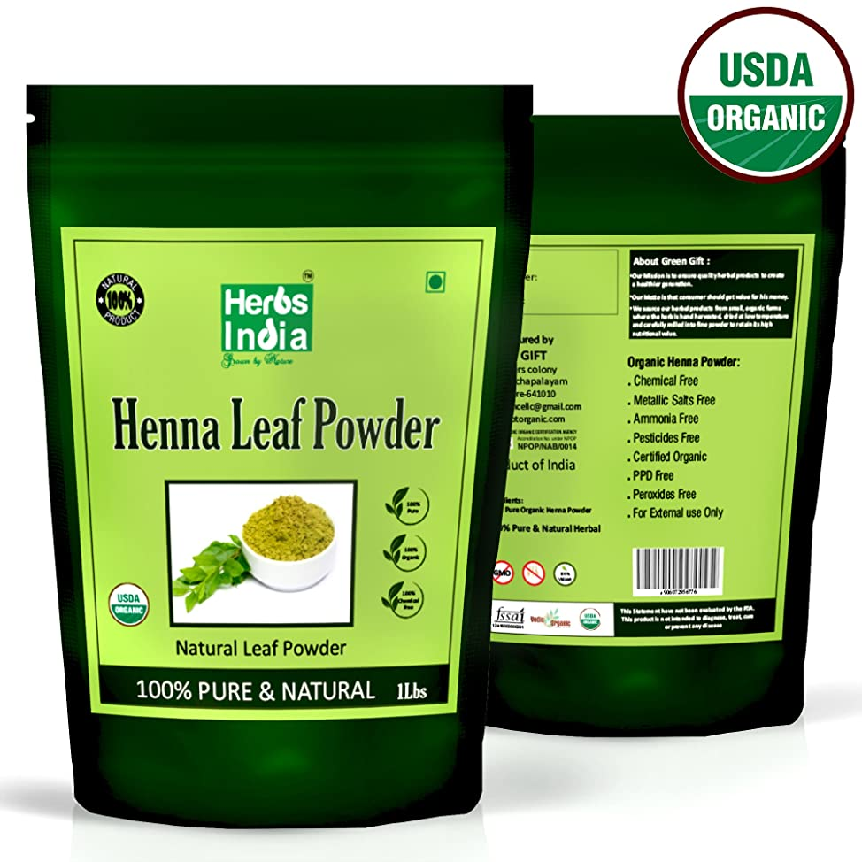 Organic Henna Powder for Hair Conditioner (NOT DYE) 16 Ounces (1 Pound) - USDA Certified Organic,100% Natural Conditioner Premium Powder - HerbsIndia