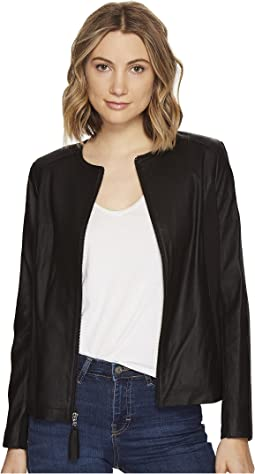Zip Collarless Jacket with Knit Trim