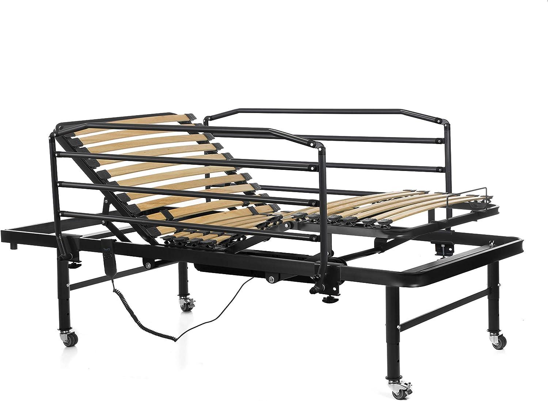 Ferlex - Cama articulada eléctrica geriátrica hospitalaria con Patas Regulables y Ruedas con Frenos | Barandillas abatibles (90x190)