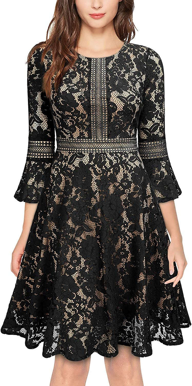 MISSMAY depot Women's Vintage Full Lace Swin Contrast Sleeve Flare Super special price Big
