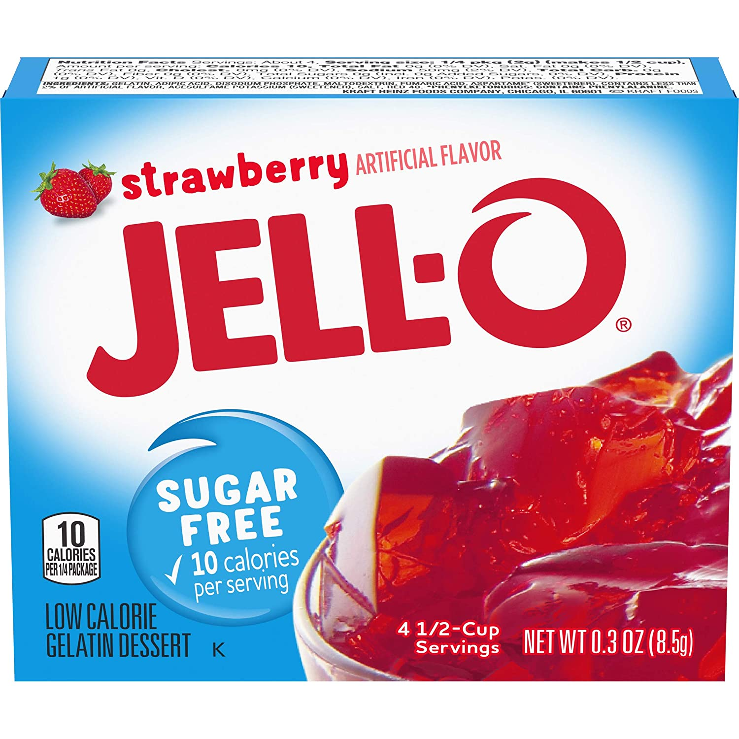 Jell-O Strawberry Sugar-Free Gelatin Mix 0.3 oz Max 51% OFF of 2 Pack Latest item Bags