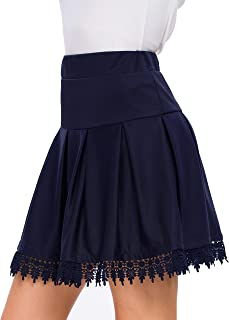 Afibi High Waisted Plaid Ruffle Mini Pleated Skater Skirts for Women