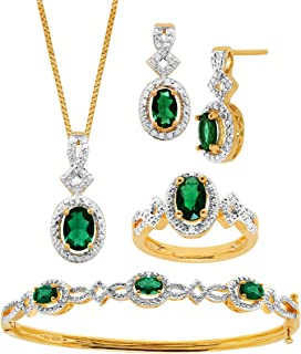 Created Gemstone Pendant, Bracelet, Earring & Ring Set with Diamonds in 14K Gold-Plated Brass