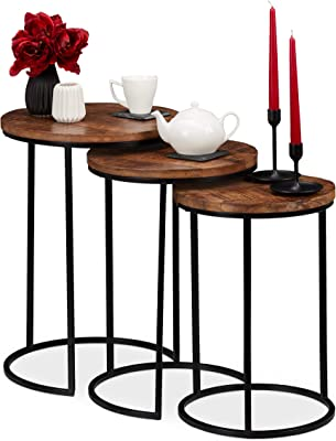 Relaxdays Table gigogne, Jeu de 3, d'appoint Ronde Bois de Mangue, Design Industriel, métal Noir, 3 Tailles, Couleurs, Fer, 57,5 x 41 x 41 cm