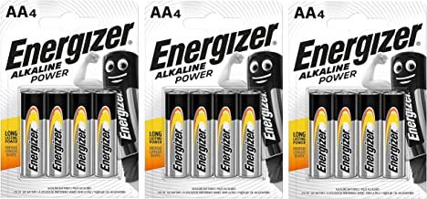 Energizer Alkaline Power Long Lasting Batteries for Everyday Devices AA, Pack of 12