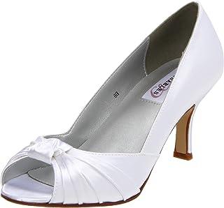 Dyeables Women's Ida Peep-Toe Pump,White