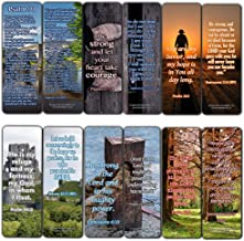 Religious Bookmarks Cards (60 Pack) - Encouraging Gift Psalm 91 Isaiah 41 Ephesian 6 Be Strong Bible Verses - Stocking Stuffers for Men Women Soldiers Army Husband Evangelism Mission Church Supplies