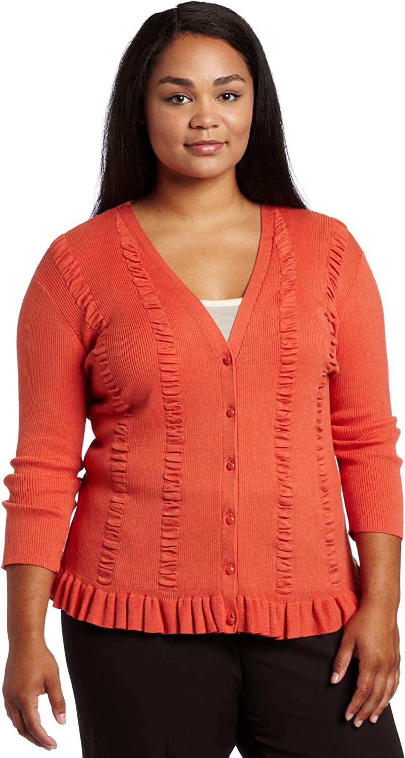 AK Anne Klein Women's Plus Size Cardigan Sweater With Ribbed Front
